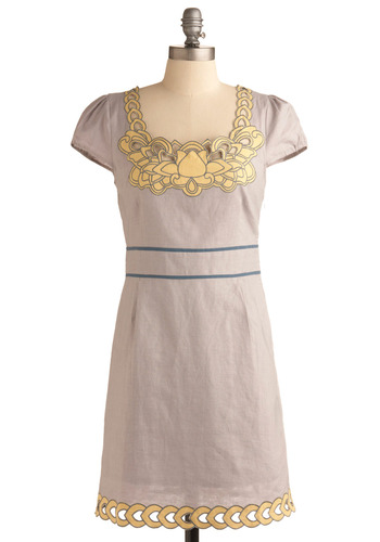 Periwinkle Prairie Dress - Yellow, Casual, Shift, Cap Sleeves, Blue, Grey, Mid-length, Summer