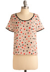 Midnight Breakfast Top - Cream, Polka Dots, Exposed zipper, Casual, Short Sleeves, Black, Short, Red