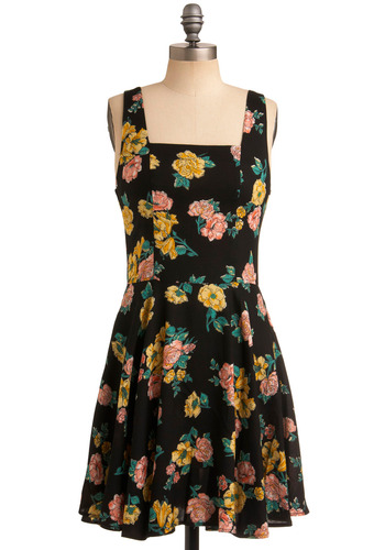 Temescal Dress - Multi, Yellow, Green, Pink, Floral, Casual, A-line, Tank top (2 thick straps), Spring, Summer, Black, Mid-length