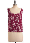 Cran-do Attitude Top - Pink, White, Floral, Buttons, Casual, Sleeveless, Tank top (2 thick straps), Spring, Summer, Mid-length