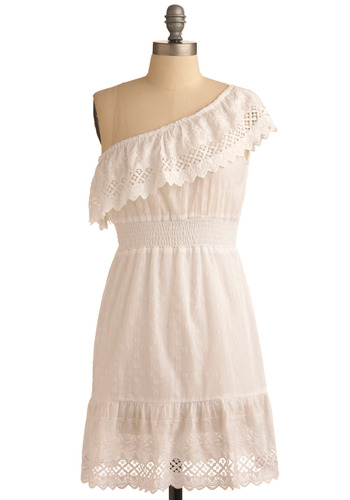 Sunset Barbecue Dress - White, Eyelet, Lace, Ruffles, Casual, A-line, One Shoulder, Spring, Summer, Short
