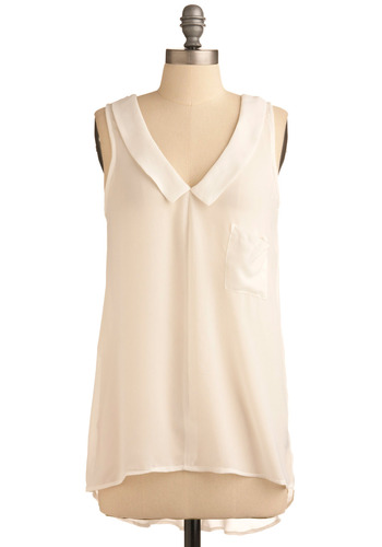 Sheerly Stunning Top - White, Solid, Pockets, Work, Casual, Tank top (2 thick straps), Spring, Summer, Mid-length