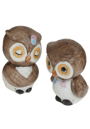 Vintage I Could Eat You Owl Up Shakers in Brown