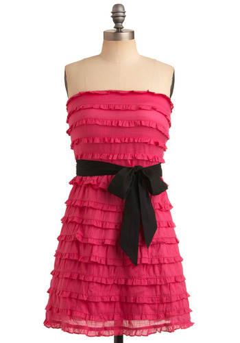 Predict the Fuchsia Dress - Pink, Black, Solid, Bows, Ruffles, Trim, Formal, Wedding, Party, Casual, A-line, Strapless, Spring, Summer, Mid-length