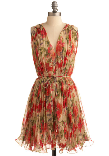 Always in Motion Dress - Multi, Red, Green, Blue, Pink, Tan / Cream, Floral, Ruffles, Party, A-line, Sleeveless, Spring, Summer, Mid-length