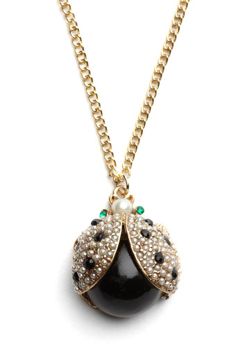 Ladybug-in-Waiting Necklace - Black, Gold, Green, White, Pearls, Rhinestones, Casual, Vintage Inspired, 80s, Luxe