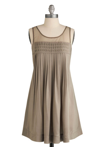 Com-pleatly Yours Dress - Tan, Solid, Pleats, Casual, Shift, Sleeveless, Tank top (2 thick straps), Spring, Summer, Mid-length