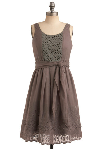 Go Your Own Grey Dress - Grey, Buttons, Cutout, Embroidery, Eyelet, Casual, A-line, Tank top (2 thick straps), Spring, Summer, Mid-length