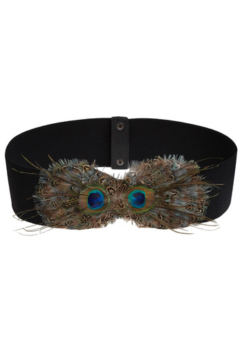 Pronto Pizazz Belt - Black, Multi, Feathers, Special Occasion, Party, Casual