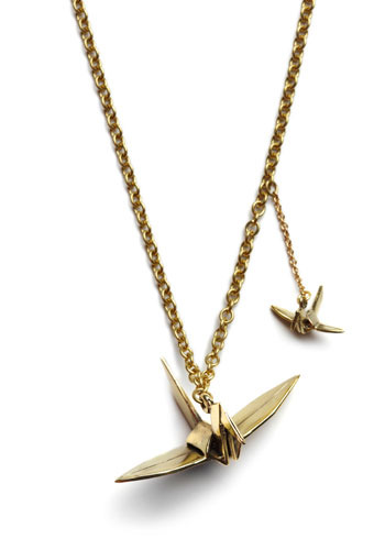 Fly Like Paper Cranes Necklace by Monserat De Lucca - Gold