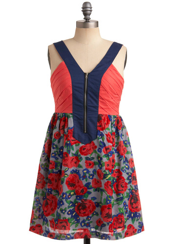 Window Box Garden Dress - Pink, Multi, Red, Yellow, Green, Blue, Black, Floral, Exposed zipper, Casual, Empire, Tank top (2 thick straps), Spring, Summer, Short