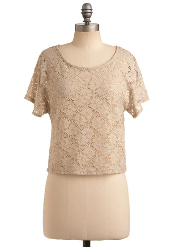 Tip-Taupe Shape Top - Cream, Floral, Buttons, Lace, Casual, Short Sleeves, Spring, Summer, Short