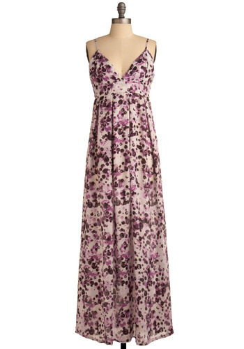 Sangria and Tapas Dress by Jack by BB Dakota - Purple, Floral, Pleats, Casual, Empire, Maxi, Spaghetti Straps, Spring, Summer, Long, Multi, Black, White