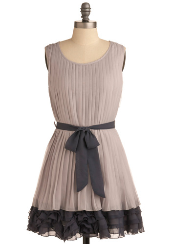 Flounce on It Dress - Grey, Pleats, Ruffles, Party, A-line, Sleeveless, Short