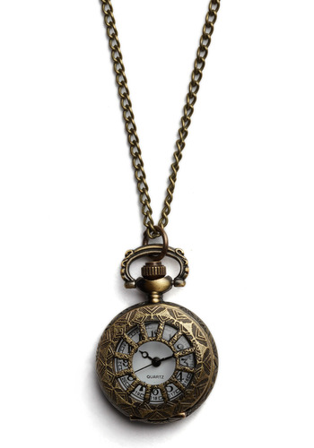 For All Time Pocket Watch Necklace in Just Right - Bronze, Chain, Party, Work, Casual