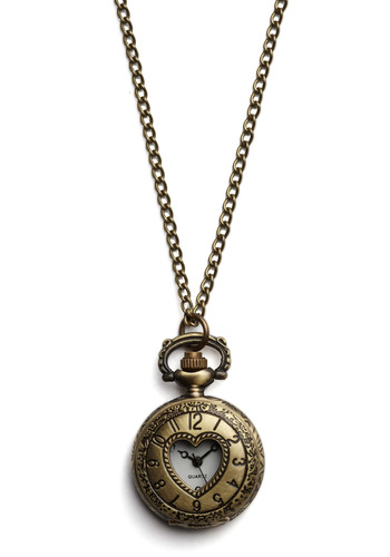 For All Time Pocket Watch Necklace in Love - Bronze, Chain, Party, Work, Casual