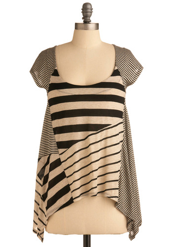 Detailed Line Work Top - Cream, Black, Stripes, Casual, Cap Sleeves, Mid-length, Scoop