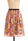 Beneath the Windmills Skirt - Multi, Red, Yellow, Pink, Tan / Cream, Black, Grey, Floral, Party, Casual, Spring, Summer, Mid-length