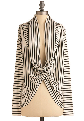 Creative Thesis Defense Cardigan - Stripes, Casual, Long Sleeve, Long, White, Multi, Black