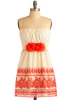 Backyard Dance Dress - Cream, Orange, Floral, Flower, Casual, A-line, Strapless, Spring, Summer, Short