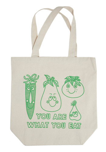 Veg Out Tote by Nooworks - White, Green, Novelty Print, Casual, Spring, Summer