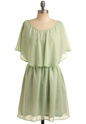 Celadon Ceramics Dress - Green, Solid, Party, A-line, Short Sleeves, Spring, Summer, 30s, 70s, 20s, Short