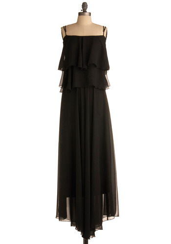 Beauty on the Balcony Dress - Black, Solid, Ruffles, Tiered, Formal, Maxi, Spaghetti Straps, Long, Prom
