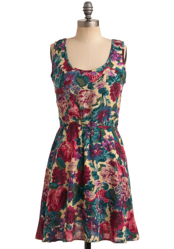 Botany Major Dress - Multi, Red, Green, Blue, Purple, Pink, Tan / Cream, Floral, Cutout, Casual, A-line, Sleeveless, Spring, Summer, Mid-length