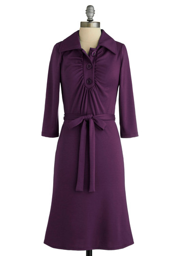 Sample 874 - Purple, Solid, Buttons, Casual, Shirt Dress, 3/4 Sleeve