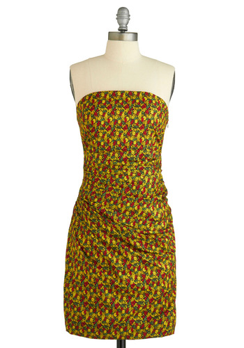 Sample 885 - Multi, Red, Yellow, Green, Floral, Casual, Sheath / Shift, Strapless
