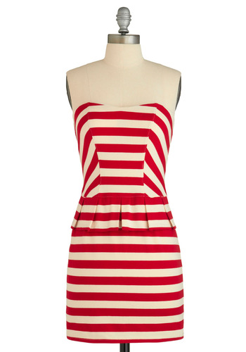 Sample 884 - Red, White, Stripes, Pleats, Party, Casual, Nautical, Sheath / Shift, Strapless