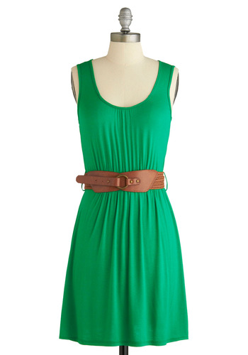 Sample 876 - Green, Solid, Casual, A-line, Sleeveless, Tank top (2 thick straps)