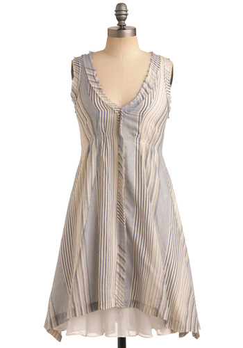 Blueprint for Success Dress - Cream, Stripes, Casual, A-line, Sleeveless, Spring, Summer, Blue, Nautical, Mid-length