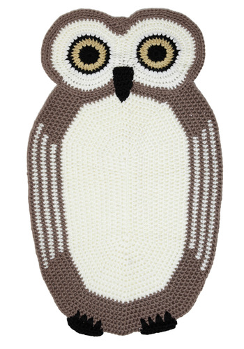 You're an Animal Rug in Owl - Brown, Cream, Black, Crochet, Dorm Decor, Owls
