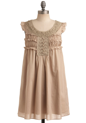 Life So Sweet Dress - Cream, Buttons, Lace, Ruffles, Casual, Empire, Cap Sleeves, Sleeveless, Mid-length