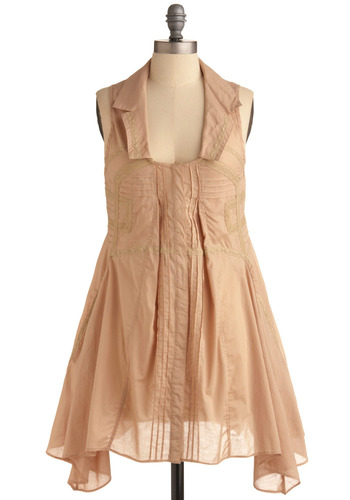 Only Dress in the World | Mod Retro Vintage Printed Dresses | ModCloth.com :  boho seaming dusty pink twirly