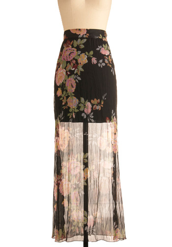 Flea Market Find Skirt - Black, Multi, Red, Yellow, Green, Blue, Pink, White, Floral, Casual, Maxi, Spring, Summer, Fall, Long