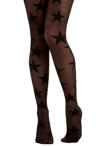 Superstar Power Tights by House of Holland - Black, Novelty Print, Party, Casual