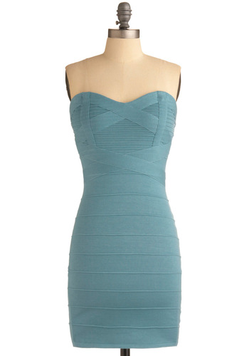 Meet Up on Madison Dress - Blue, Solid, Party, Sheath / Shift, Strapless, Show On Featured Sale, 80s, Mid-length