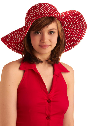 Enjoying Company Hat - Red, White, Polka Dots, Casual, Spring, Summer