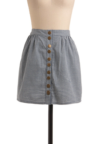 Country Chic Skirt by Tulle Clothing - Blue, White, Checkered / Gingham, Buttons, Casual, Urban, A-line, Spring, Summer, Short