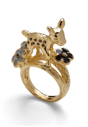Fawn Never Stops Ring - Gold, Black, Flower, Party, Casual, Boho