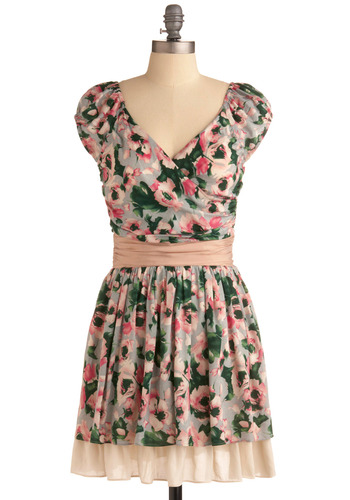 Flowers for Your Apartment Dress | Mod Retro Vintage Printed Dresses | ModCloth.com :  floral crossover pleats sash