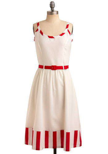Scent of Strawberries Dress by Bettie Page - White, Red, Stripes, Trim, Casual, Vintage Inspired, A-line, Tank top (2 thick straps), Spring, Summer, Long, Rockabilly, Pinup, 40s, 50s, Nautical