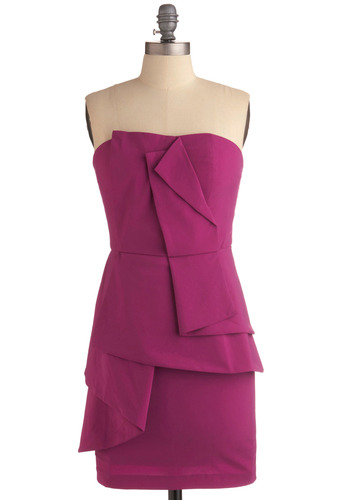 All That Razz Dress - Solid, Pleats, Wedding, Party, Shift, Strapless, Tiered, Mid-length, Purple
