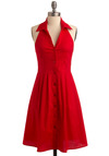 Club Red Dress - Red, Casual, A-line, Shirt Dress, Halter, Long