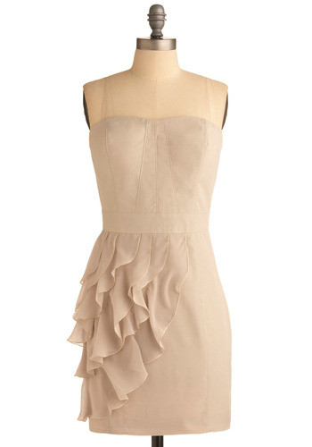 One for Almond Dress - Cream, Solid, Ruffles, Special Occasion, Wedding, Party, Shift, Strapless, Mid-length