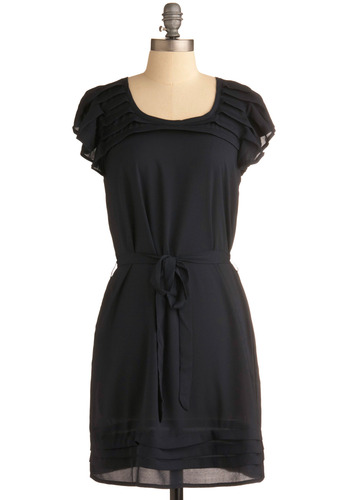 Intrigue Alliance Dress - Solid, Pleats, Casual, Sheath / Shift, Cap Sleeves, Blue, Mid-length