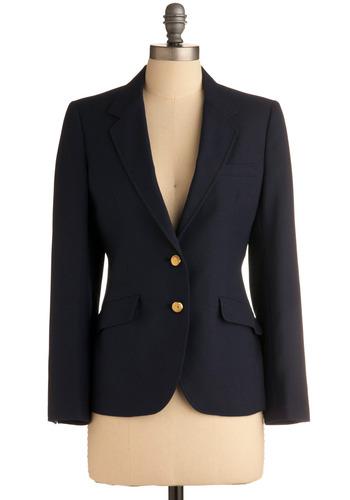 Vintage Business Model Blazer | Mod Retro Vintage Vintage Clothes | ModCloth.com :  one of a kind blazer navy brass buttons