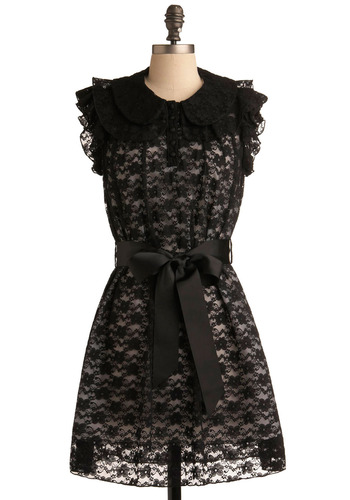 Carefree as Can Be Dress - Black, White, Floral, Bows, Buttons, Lace, Ruffles, Special Occasion, Party, Casual, Urban, Sheath / Shift, Sleeveless, Mid-length